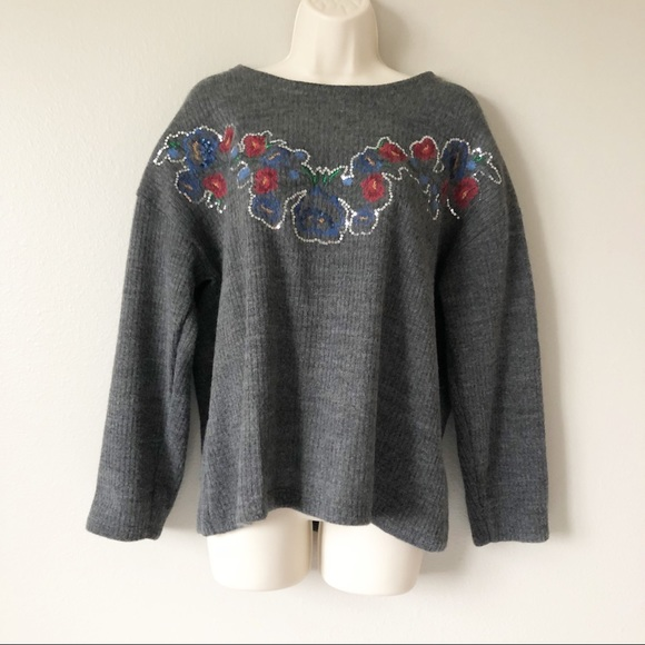 475fac89 Zara Sweaters | Embroidered Floral Sequin Sweater | Poshmark